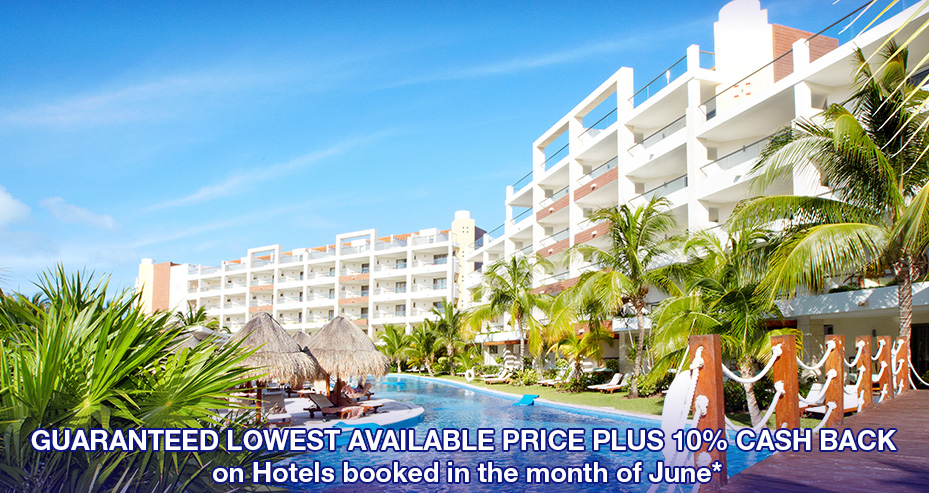 Guaranteed lowest available price PLUS 10% cash back on Hotels booked in the month of June*