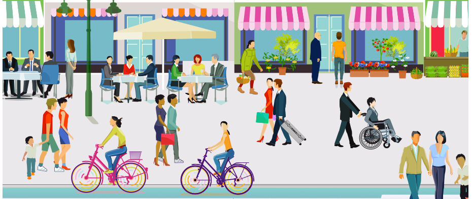 Illustration of people on local streat shopping at business.